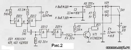 Схема импульсного излучателя на базе лазерной указки показана на рис.1. Частоту следования вспышек лазера задает...