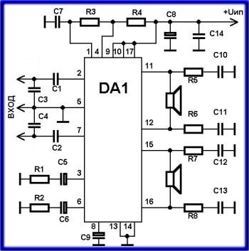 принципиальная схема усилителя звука