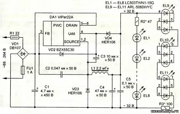 Вот сравни эту схему подключения VIPer22A с твоим шим.