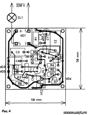 вблизи транзистора VT2,