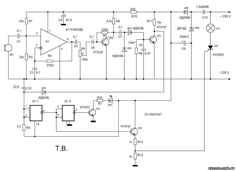 схема акустического реле,