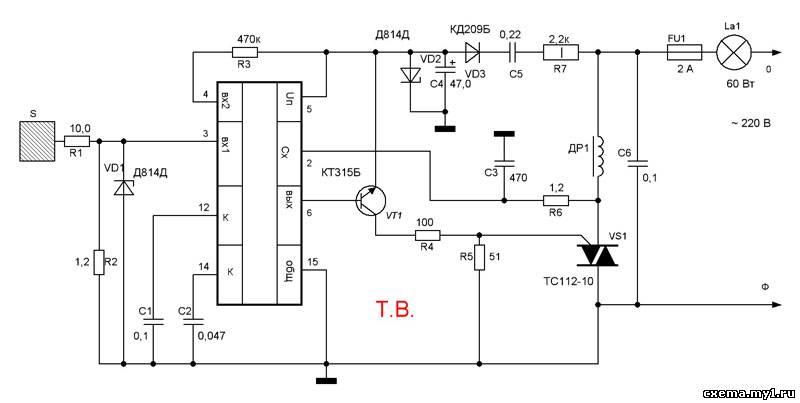 Сенсорный регулятор мощности на микросхеме К145АП.