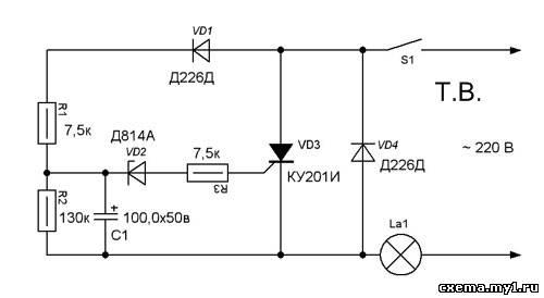 Как продлить срок службы лампы накаливания схема фото 768