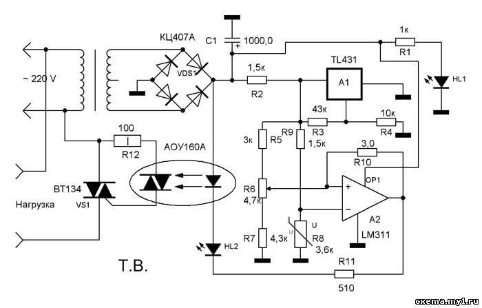 Схема терморегулятора, как и