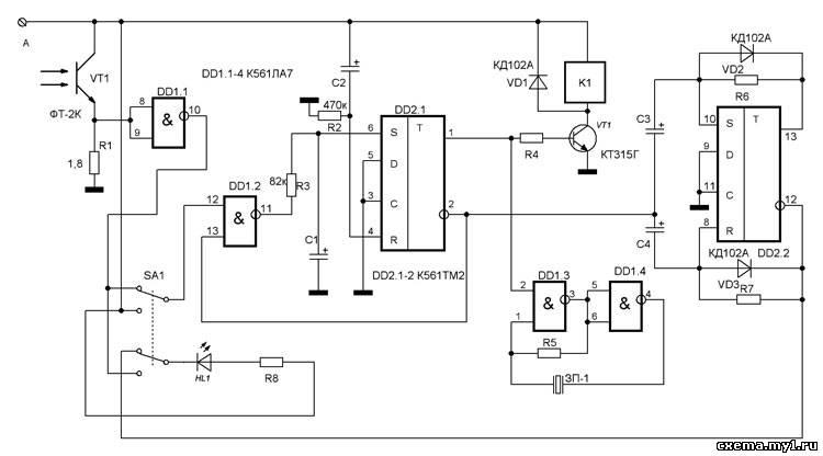Сигнал с фототранзистора VT1