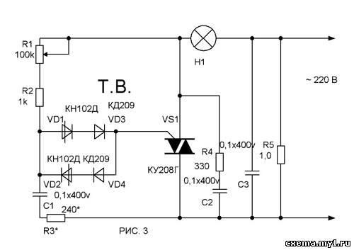 Используя популярный симистор КУ208 и два динистора КН102Д можно сделать, очень простой регулятор мощности (рисунок 3)...