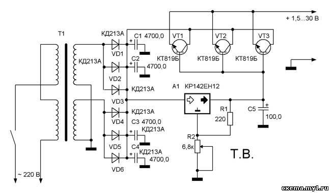Схема включения кт818