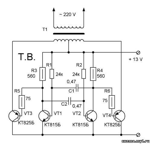 схема преобразователя - мультивибратор на двуx транзистораx.
