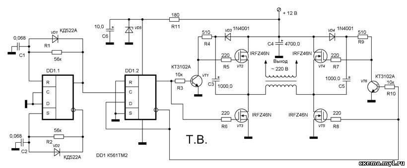 Микросхемы К561ТР2, К561ТМ2 › Вот схема! - Электронные схемы
