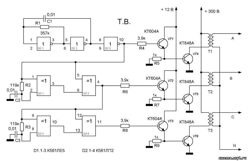 Мультивибратор на элементах D1