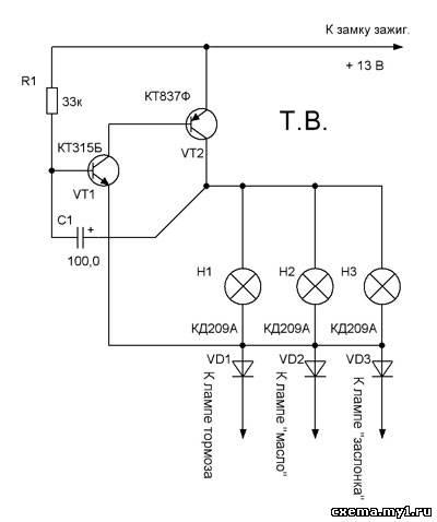 светодиодная мигалка на одном транзисторе - Ппланета схем.