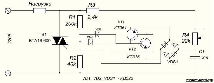 Bta16-600 схема управления