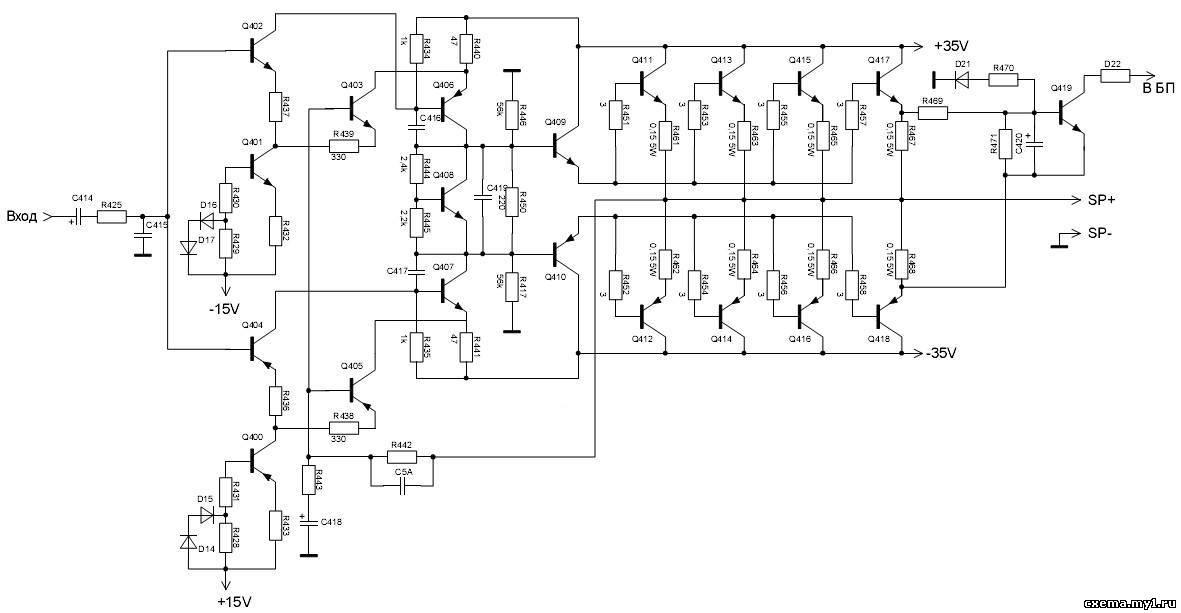 Схема шести канального усилителя