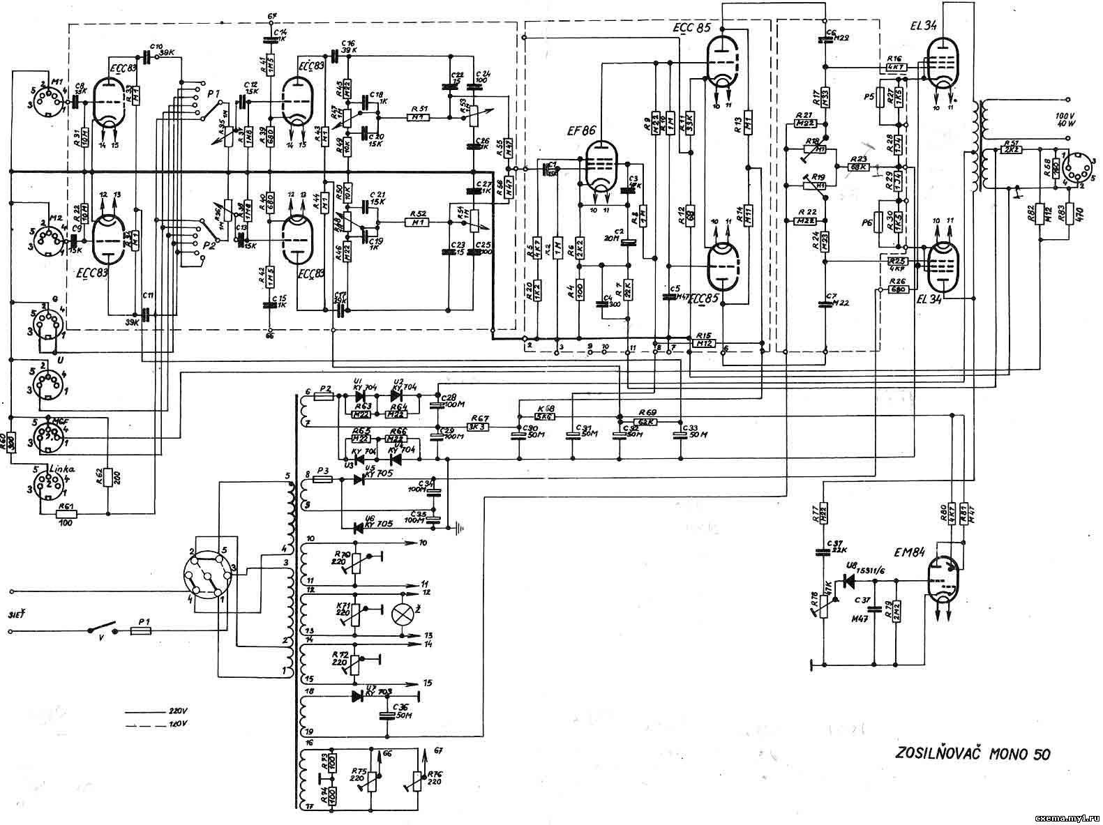 ламповый усилитель мощности Beag (Биг), EL34, формат jpg, схема.