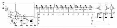 12-ти светодиодный индикатор уровня сигнала на A227D (К1003ПП1)