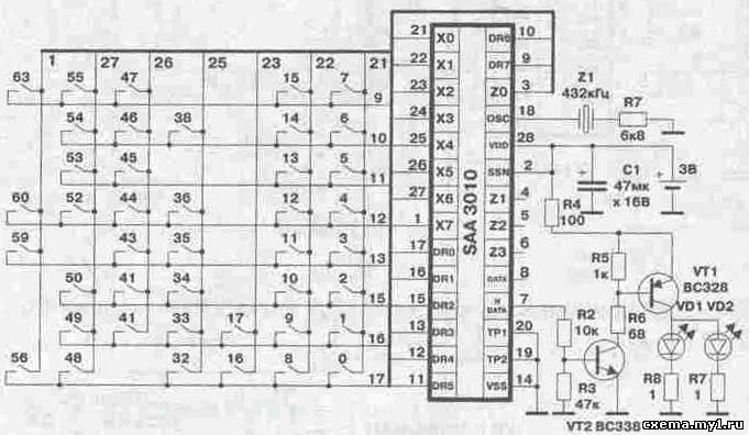 Схема пульта Samsung.