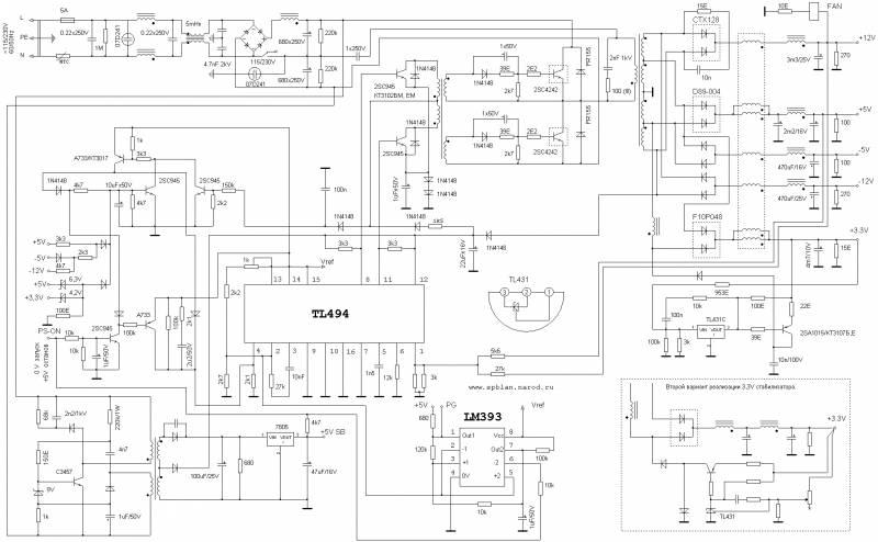 Схема БП АТХ & ATX POWER