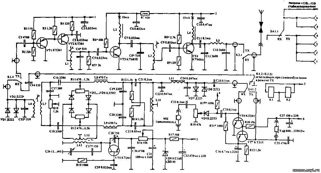 схема трансивера приведена