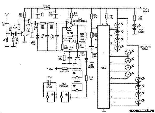 Детектор жучков с логарифмической шкалой на 12 светодиодах и звуковой индикацией