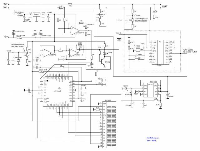 Схема.  23.01.2009 выложен исправленный вариант схемы, который соответствует печатной плате и прошивке.