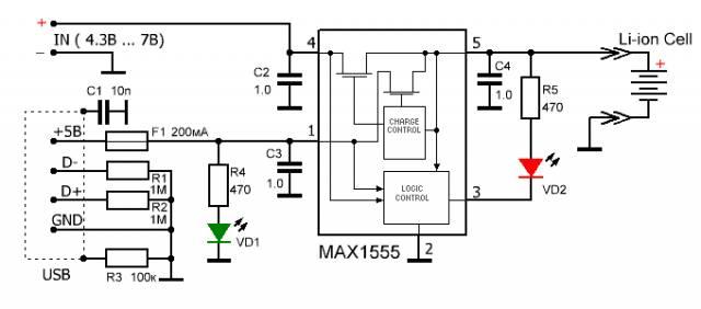 """""""Умные """" контроллеры порта нужно...  Рис.1 Схема Зарядного устройства на MAX1555 для Li-ion аккумуляторов."""