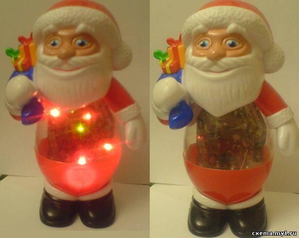 Светодиодный Дед Мороз из мигающих блоков от зажигалок.