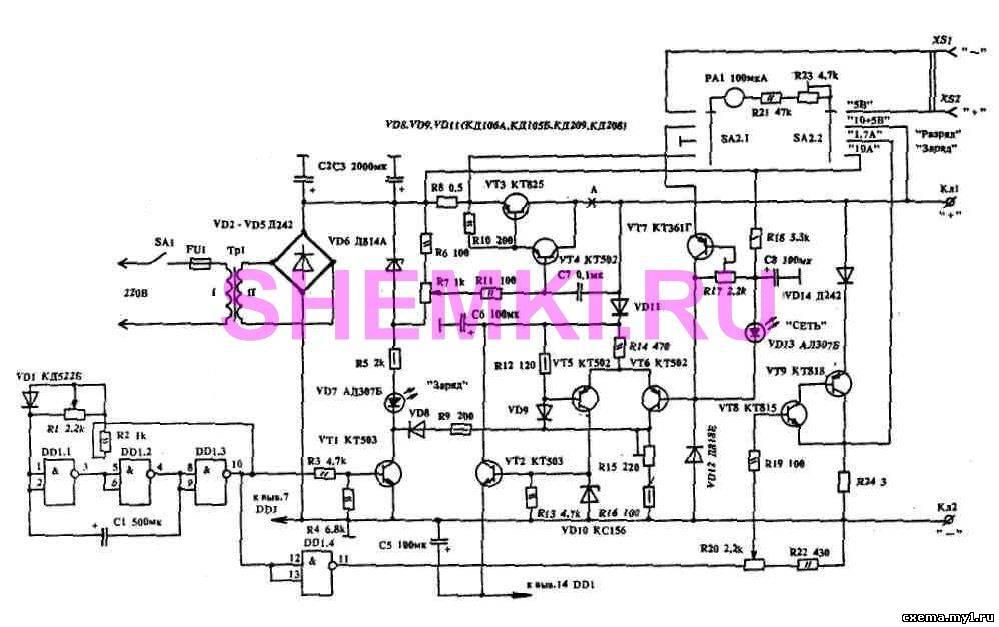 Технические данные зарядного устройства. пределы регулировки скважности зарядных импульсов: 1 - 3...