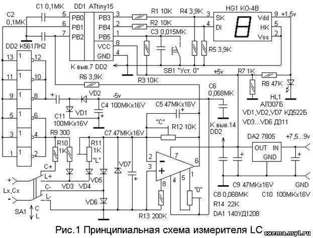 """Измеритель индуктивности и емкости.""""Радио"""" №7 за 2004г."""