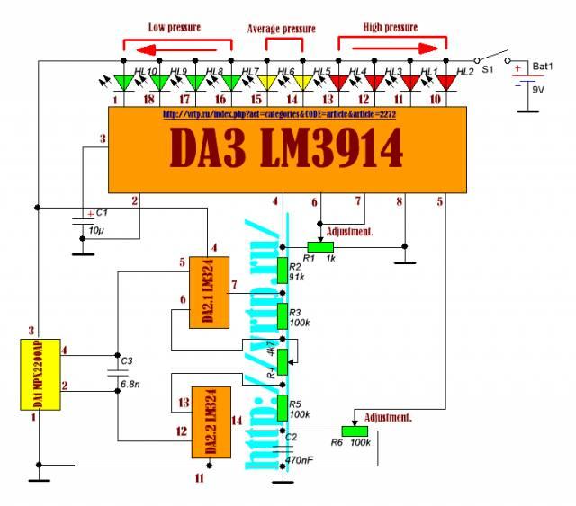 схема барометра-индикатора