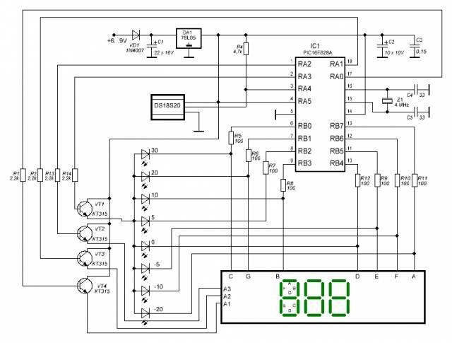 Простой термометр на pic16f628a и ds18s20 с квазианалоговой полоской. CVAVR CAVR AVR CodeVision cavr.ru