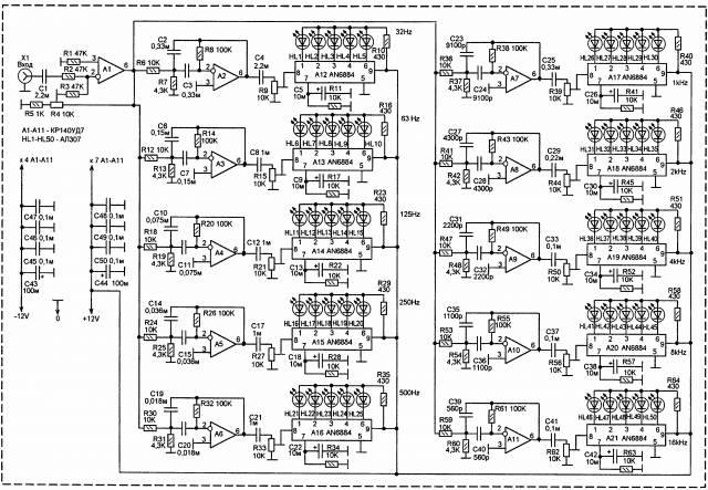 Светодиодный анализатор спектра аудио сигнала. CVAVR AVR CodeVision cvavr.ru