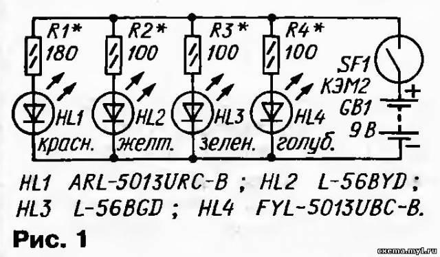 Очень простое светодинамическое устройство (СДУ) можно собрать всего на четырех разноцветных мигающих светодиодах по...