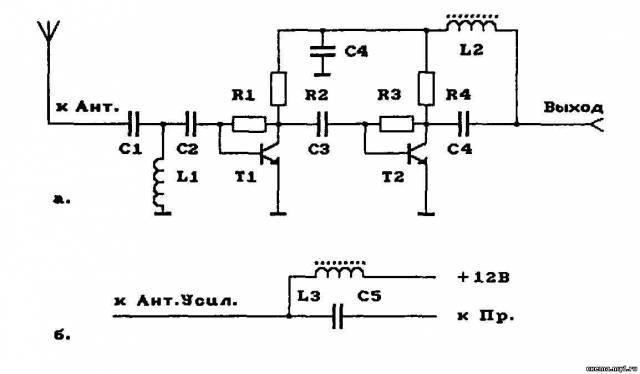 схемы антенные усилители