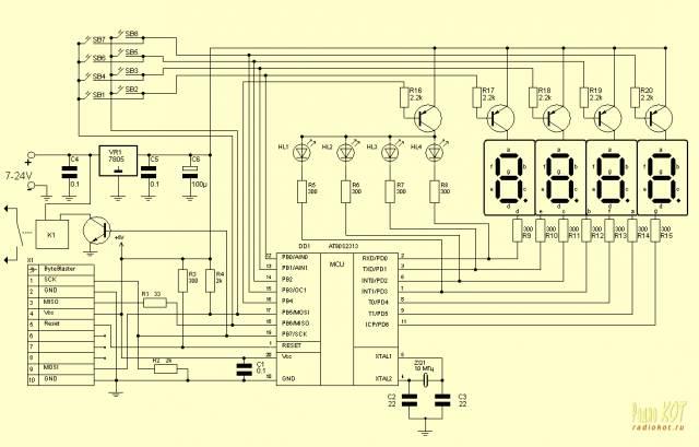 Цифровое реле времени на AT90S2313. Таймер для детонатора