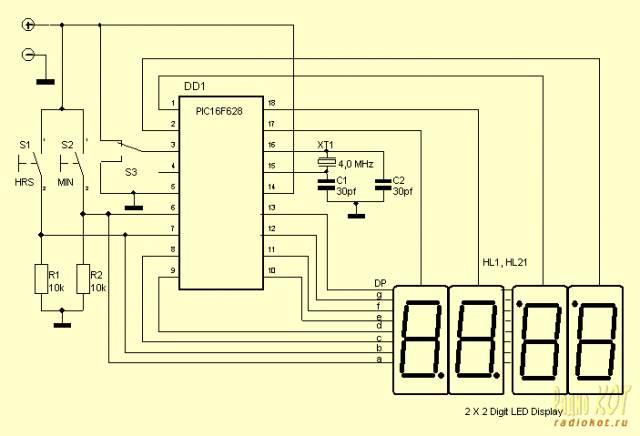 Очень простые часы на PIC-контроллере