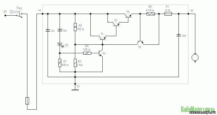 Рис. 1 Схема реле регулятора