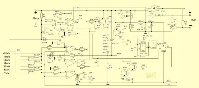 Автоматическое зарядное устройство для свинцово-кислотных аккумуляторных батарей.