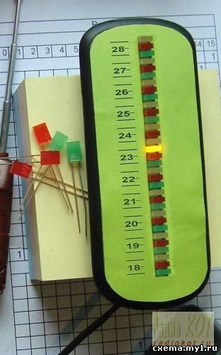 Термометр, светодиодная шкала.