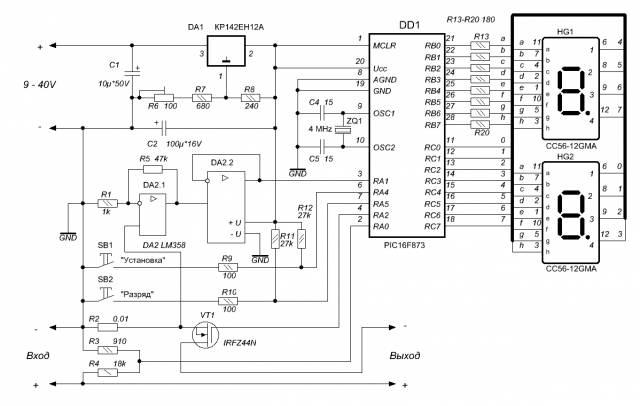 Цифровое устройство защиты с индикацией напряжения и тока