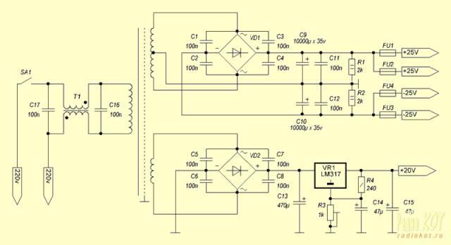 Усилитель низкой частоты с квазикомплеминтарным выходом