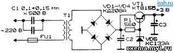 стабилизированный источникпитания с гасящим конденсатором CVAVR AVR CodeVision cvavr.ru