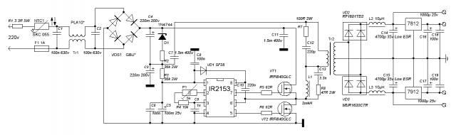 Блок питания на ir2153 схемы платы