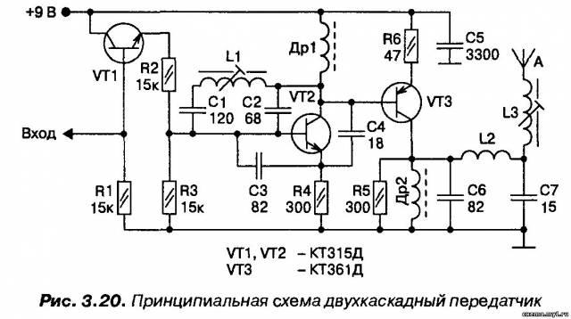 Передатчик на двух транзисторах CVAVR AVR CodeVision cvavr.ru