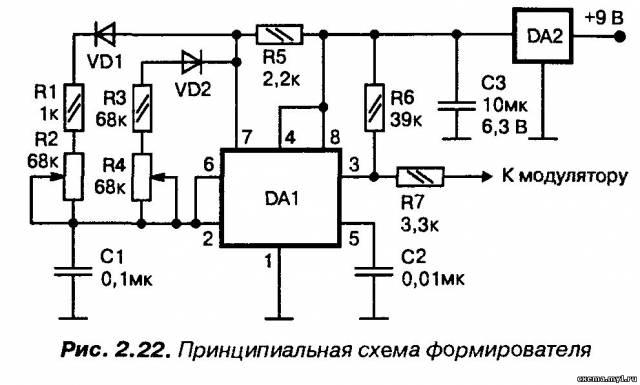 Двухканальный формирователь на таймере КР1006ВИ1