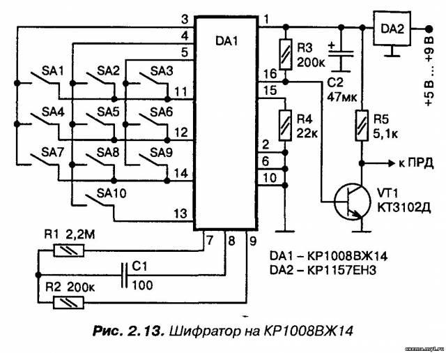 Импульсный шифратор на микросхеме КР1008ВЖ14