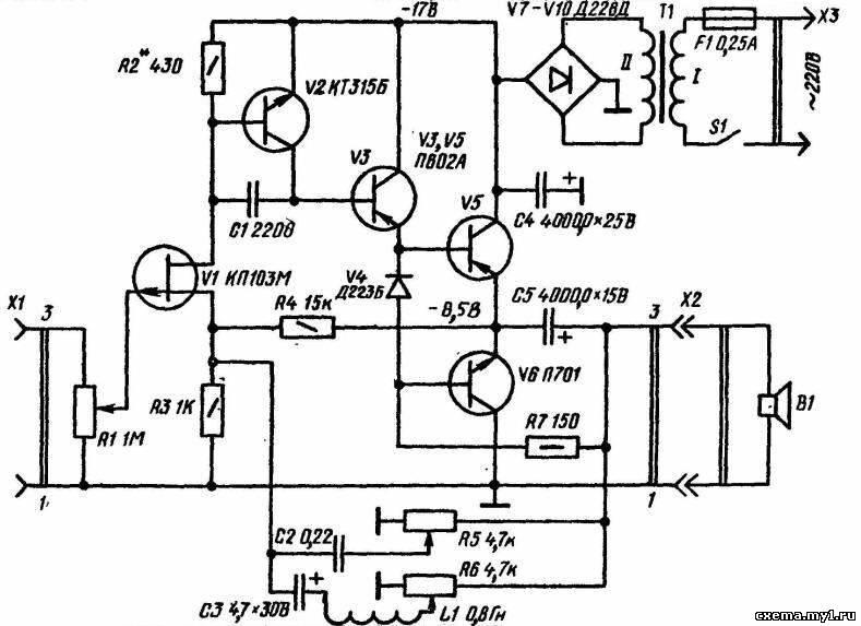 полевого транзистора V1,