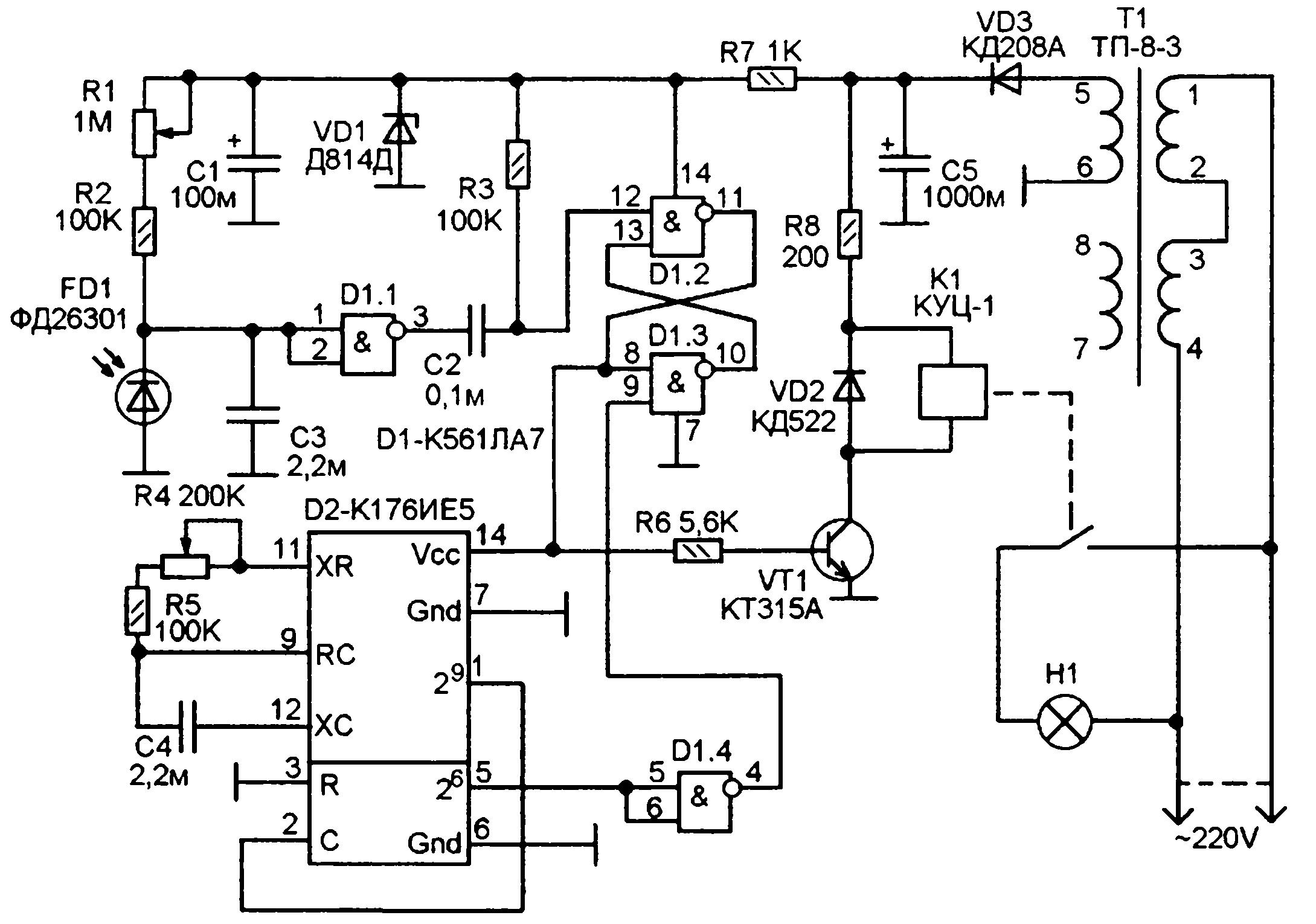 простейшая схема с фотореле на включения освещения