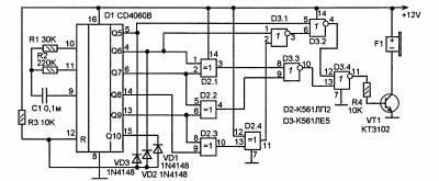 На оставшихся 2 элементах той же ЛА7/ЛЕ5 собрать второй генератор.  Вот что то такое же бы(эта пищит SOS)...