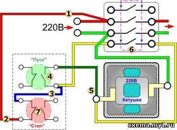 Схема управления освещением контактором