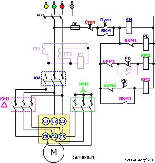 Схема соединения эл двигателя звезда треугольник